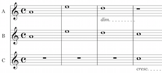 3 part unison music, with rests
